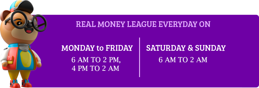 Real Money League Time